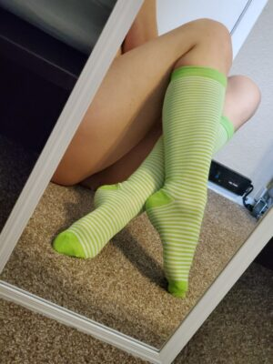 Olympia's Lime Green Striped Socks