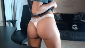 Belle's White Lace Band Thong
