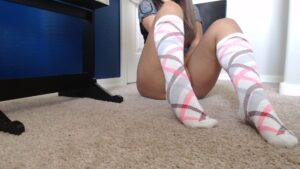 Belle's White-Pink-Maroon Knee Highs