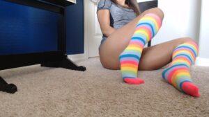 Belle's Neon Rainbow Knee Highs