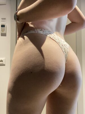 Mia's White w/Tiny Red Floral Thong