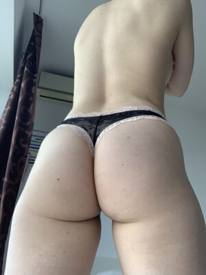 Anna's Black and Peach Lace Thong
