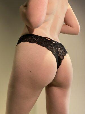 Mia's Black Lace Thong